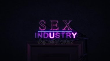 Sex Industry Neon Sign Turning on and Off