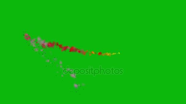 Barevný kouř stezka, která se na pozadí zeleným plátnem