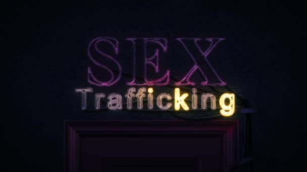 Sex obchodování neonový nápis nad dveře