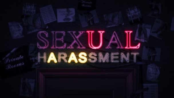 Sexuální obtěžování neonový nápis zapnutí a vypnutí nad dveře