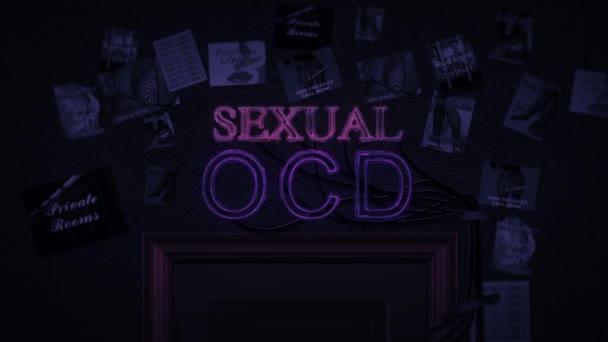 Sexuelle Leuchtreklame, die über einer Tür ein- und ausgeschaltet wird