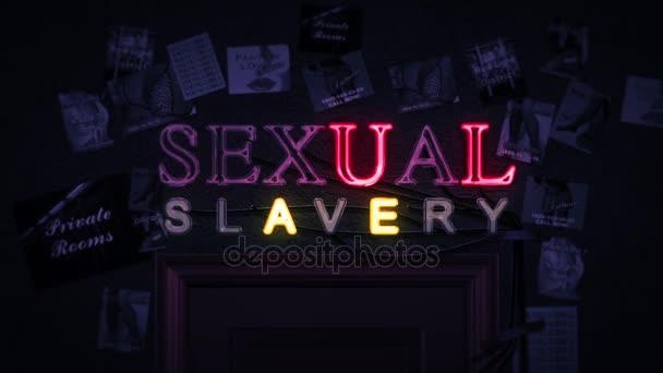 Sexuální otroctví neonový nápis zapnutí a vypnutí nad dveře