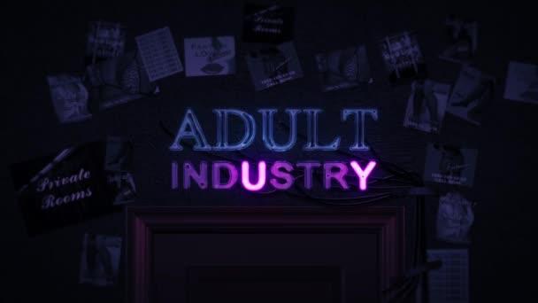 Dospělé průmyslu neonový nápis zapnutí a vypnutí nad dveře