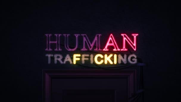 Lidské obchodování neonový nápis zapnutí a vypnutí