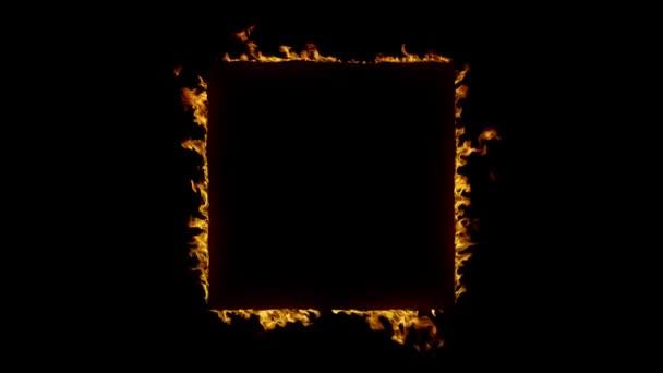 Hořící čtvercový rámec v plamenech