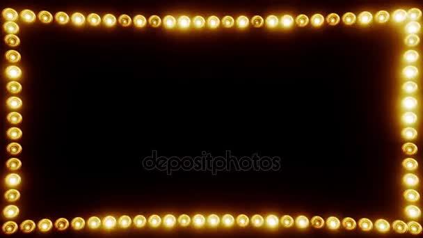 Rahmen aus Glühbirnen für einen Filmrand