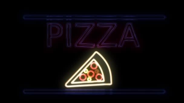 Neonový nápis v Retro stylu na pizzu