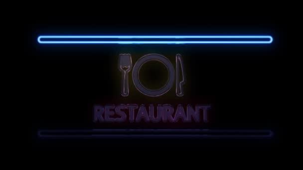Restaurace s vidlička nůž talíř Neon podepsat v Retro stylu, zapnutí