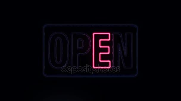klassisches rotes und blaues offenes Schild im Neon-Stil