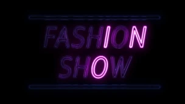 Módní Show neonový nápis v Retro stylu, zapnutí