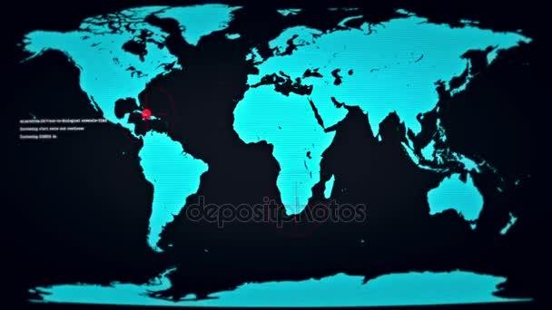 futuristischer Monitor mit Pannen zeigt die Welt unter Zombie-Angriff