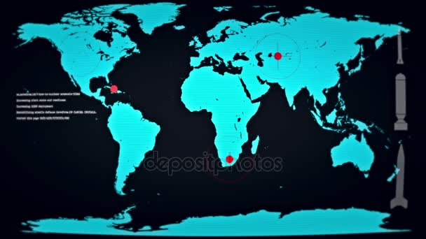 Welt unter nuklearem Beschuss nach einer Karte auf einem Computermonitor