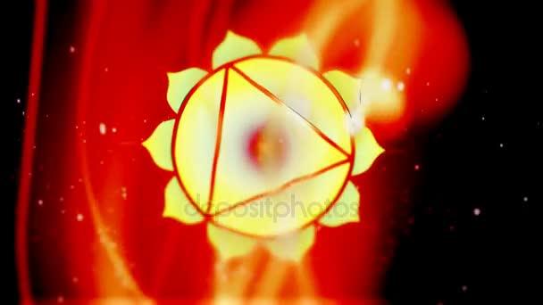 Solar Plexus čakra Manipura Mandala otáčí v energetické oblasti požáru