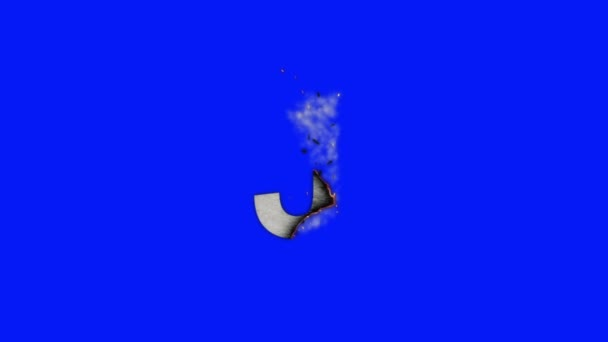 The Capital Letter J Burning To Ashes on a Blue Screen Background