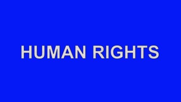 Lidská práva slova umírat v plamenech popel na pozadí modrá obrazovka