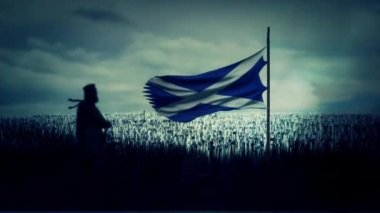 William Wallace Standing in Front His Army with Scotland Flag