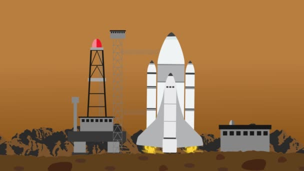 Shuttle Launch From A Space Launching Station on Planet Mars