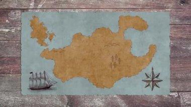 Egy üres Kincses Térkép, egy vitorlás, egy fából készült asztal