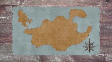 Egy üres Kincses Térkép, egy fából készült asztal