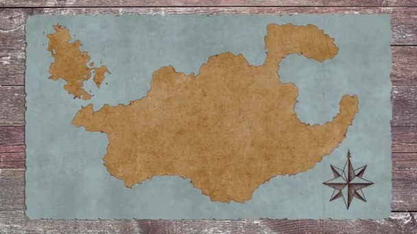 A Blank Treasure Map On Wooden Table Stock Video