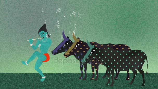Pán Krišna hraje na flétnu kravám na poli