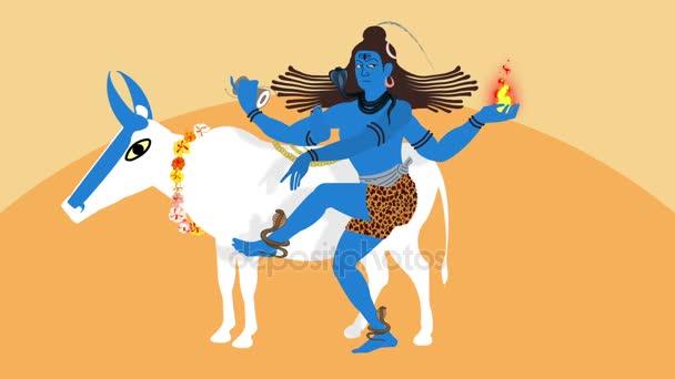 Ilustrace lorda Shiva a Nandi býka