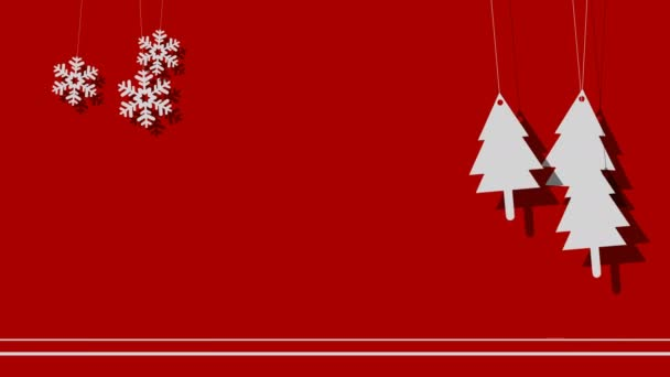 Vector Christmas Background Of Trees And Snowflakes On A String