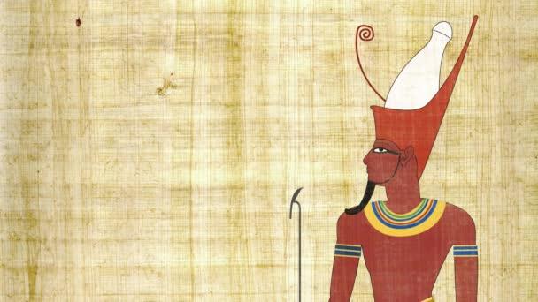 Egyptský faraón s dvojitou korunou na pozadí Papyrus