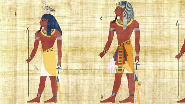 Egyptských faraonů a bohové na pozadí Papyrus