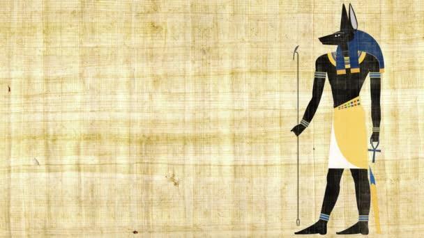 Egyptský bůh Anubis smrti na pozadí Papyrus