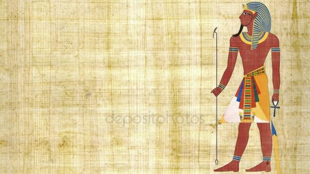 Egyptský faraón na pozadí Papyrus