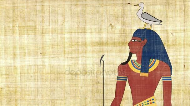 Egyptský bůh země Geb na pozadí Papyrus
