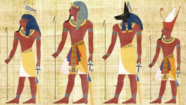 Egyptských bohů a faraonů na pozadí Papyrus