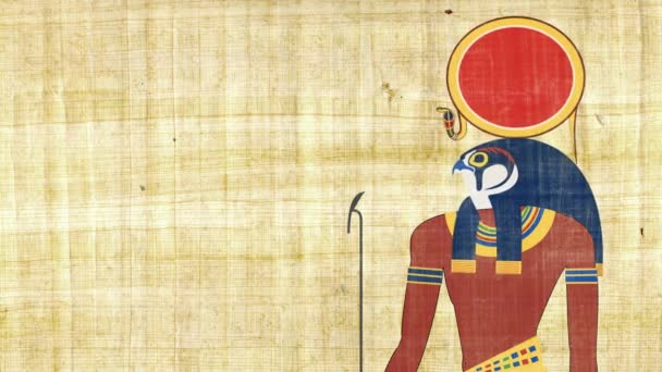 RA egyptského boha Slunce na pozadí Papyrus