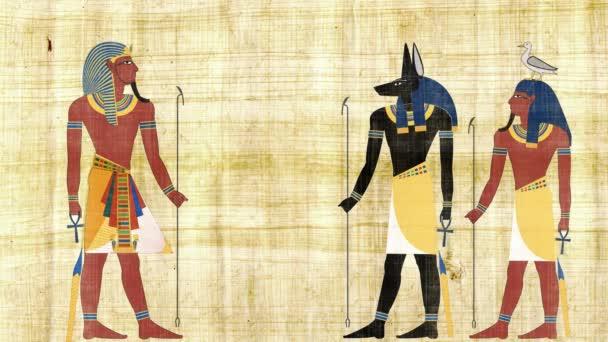 egyptische goden anubis en geb in front farao — stockvideo