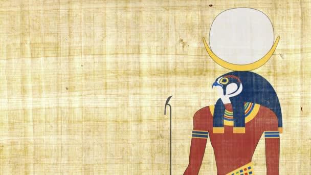 Chonsu egyptského boha měsíce na pozadí Papyrus
