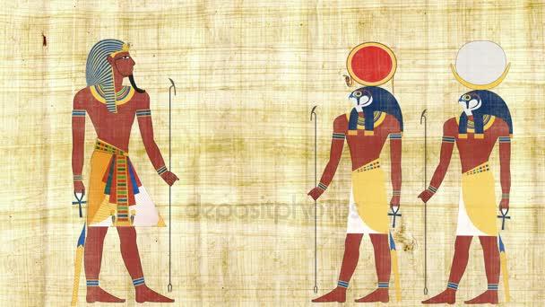 Egyptský faraón s Ra a Chonsu
