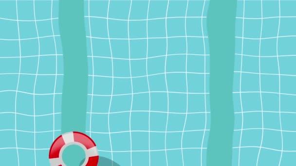 Cartoon-Schwimmbad mit schwimmendem Rettungsring