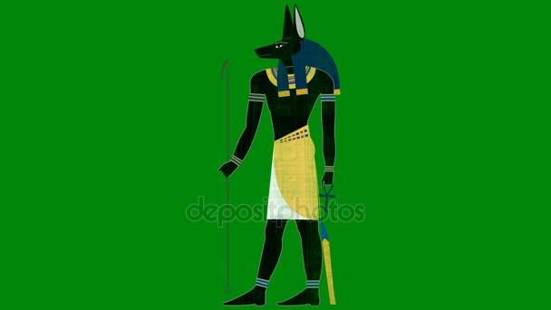Egyptský bůh Anubis smrti na pozadí zeleným plátnem