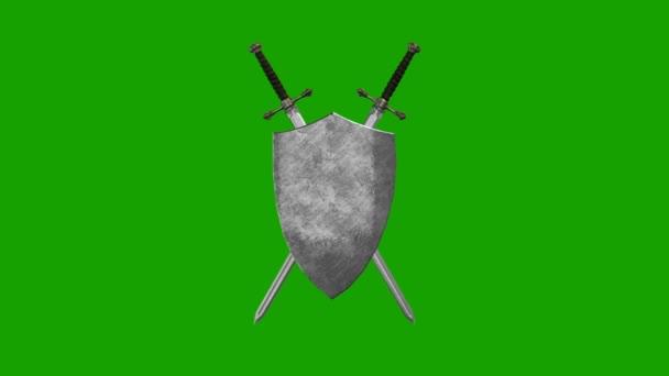 Középkori kard és pajzs alkotó egy szimbólum az alfa-csatorna