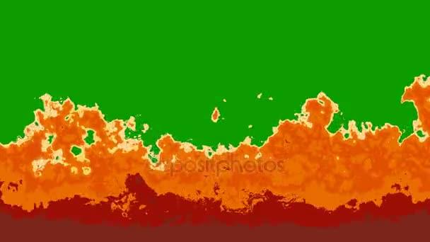 Zeď z plamenů kreslený styl na zelené obrazovce