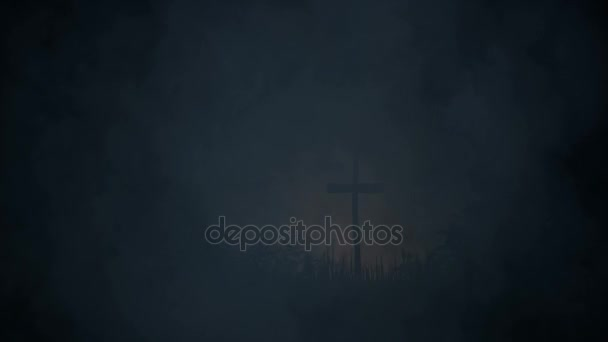Tomba contrassegnata con una crocetta sotto una tempesta