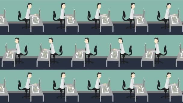 Conveyor Belt of Employees Typing on Computers Fast
