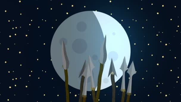Primitive Tribe Waving Spears at the Moon