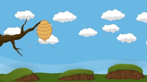 Cartoon-Bienenstock hängt an einem Ast mit umherfliegenden Bienen