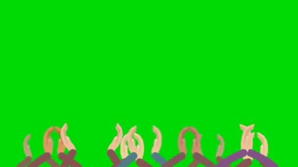 Cartone animato folle mani dapplauso su uno sfondo di schermo verde