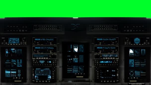 Futuristické ovládání most na kosmické lodi na pozadí zelená obrazovka