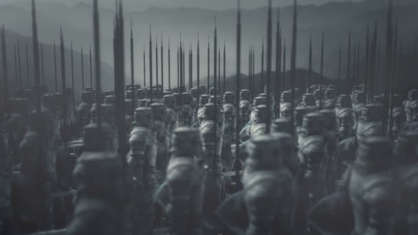 Large Medieval Knight Army Standing Under Rain