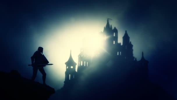 Temný rytíř přijíždí na temný strašidelný hrad