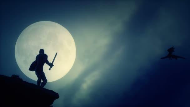 Drachentöter Ritter, der in mittelalterlicher Fantasie einen Drachen am Himmel fliegen sieht